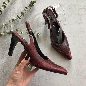 VIA SPIGA Embossed Red Leather Slingback Heels 6